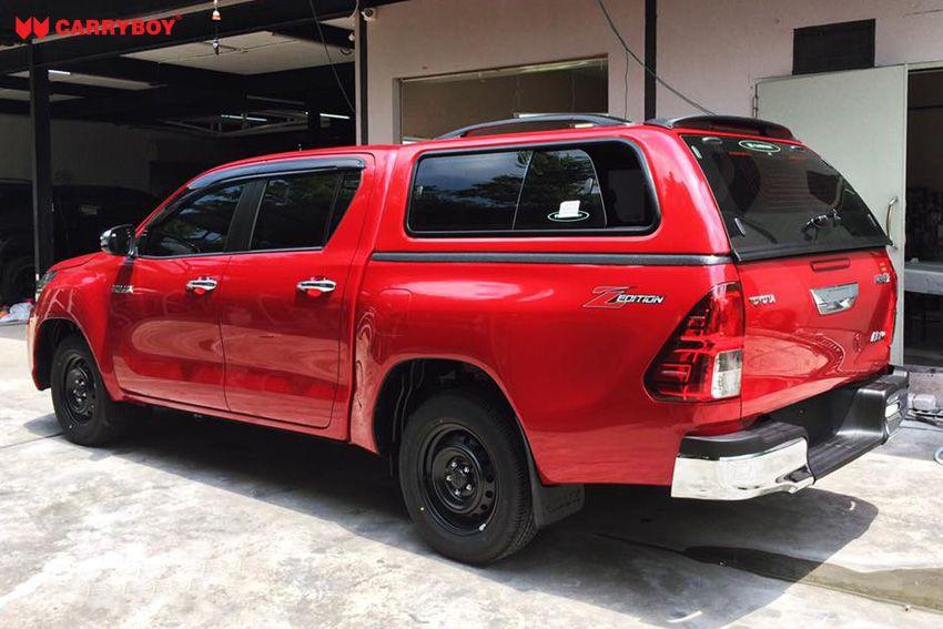 CARRYBOY GFK Hardtop 560-TRD mit Schiebefenster Toyota Hilux Revo Invincible Doppelkabine einfacher Einbau ohne Bohren
