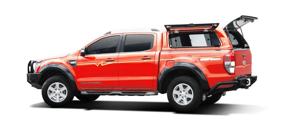 CARRYBOY GFK Hardtop SO56-FTD Schiebefenster Klappfenster Kombination mit neuem Design Ford Ranger Doppelkabine getönte Glasklappe Fahrerseite