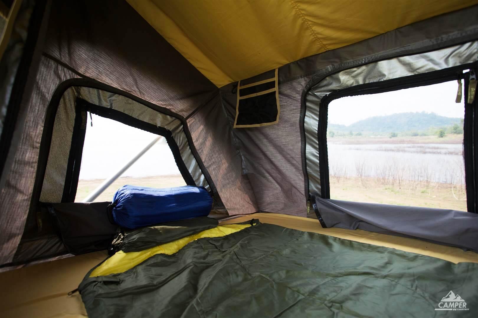 Carryboy Camper Dachzelt für 2 bis 3 Personen für alle Fahrzeuge heller Innenraum
