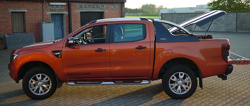 CARRYBOY Laderaumabdeckung Deckel mit Edelstahl Überrollbügel GRX-FTD Ford Ranger Doppelkabine Wagenfarbe