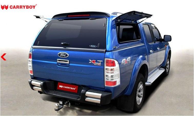 Ford Ranger Doppelkabine Hardtop mit seitlichen GFK Klappen SOK-FTD mit Spoiler und Bremslicht