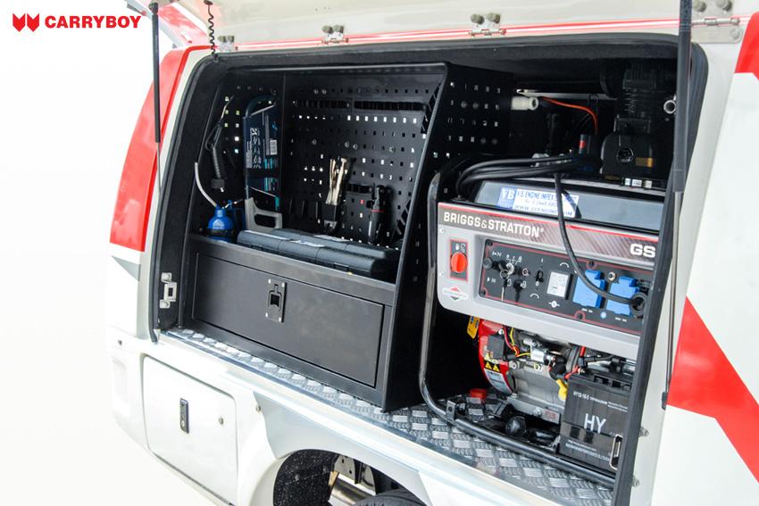 CARRYBOY Kofferaufbau CSV Zusatzausstattung Regale B mit Maschinen Ford Ranger Einzelkabine 2012+