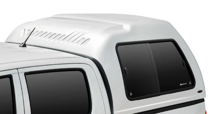 CARRYBOY Hardtop mit Überhöhe Nissan Navara D40 Kurzbett Doppelkabine GFK mit Schiebefenster