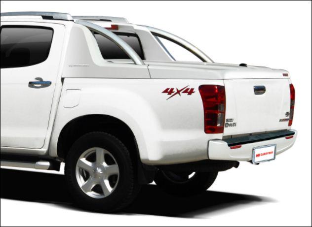 Isuzu D-max Doppelkabine 2012 Laderaumabdeckung mit Überrollbügel von CARRYBOY Deckel mit Stylingbar für Isuzu Dmax 2012 bis 2016