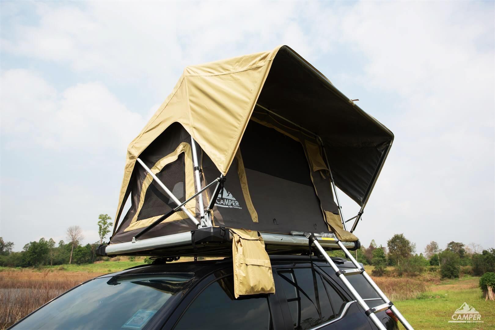 Carryboy Camper Dachzelt für 2 bis 3 Personen für alle Fahrzeuge große seitliche Fenster