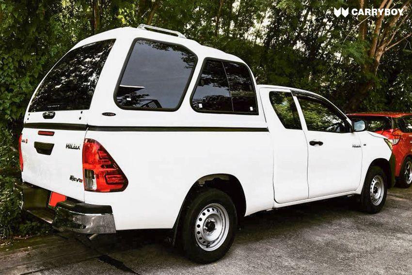 CARRYBOY Hardtop Überhöhe extrahoch 840-TRC mit Schiebefenster Toyota Hilux Revo Extrakabine 2016+extrem belastbares GFK Hardtop Qualität