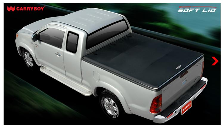 CARRYBOY Laderaumabdeckung Vinylplane mit Klettverschluss Toyota Hilux Vigo Extrakabine 2005-2015 Einbau mit Überkante Laderaumwanne