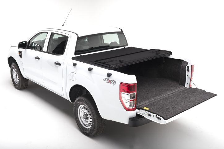 NOVISauto Laderaumabdeckung zum Falten Trifold SOLIDFOLD Ford Ranger Doppelkabine 2012+ kombinierbar mit Zubehör