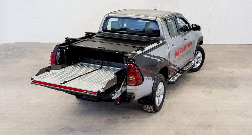 CARRYBOY Aluminiumrollo Toyota Hilux Revo Invincible Doppelkabine schwarzes Alurollo