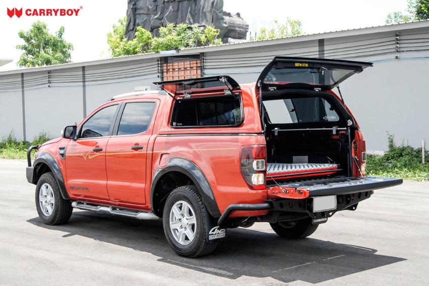 CARRYBOY Hardtop SO56-MND Mitsubishi L200 Doppelkabine 2016+ Klappfenster und Schiebefenster Kombination