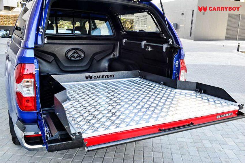 CARRYBOY Ladebodenauszug ausziehbarer Ladeboden 350kg Premium Aluminium Vollbett Schublade füllt Hammerschlag Griff