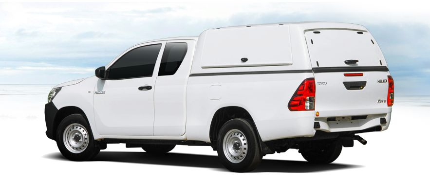 CARRYBOY Gewerbehardtop mit geschlossenen Seitenklappen Toyota Hilux Revo Extrakabine Wagenfarbe