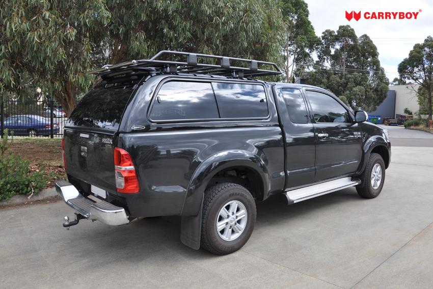 CARRYBOY Hardtop mit großen Schiebefenstern 560gF-TRC Toyota Hilux Revo Invincible Extrakabine belastbare Dachreling