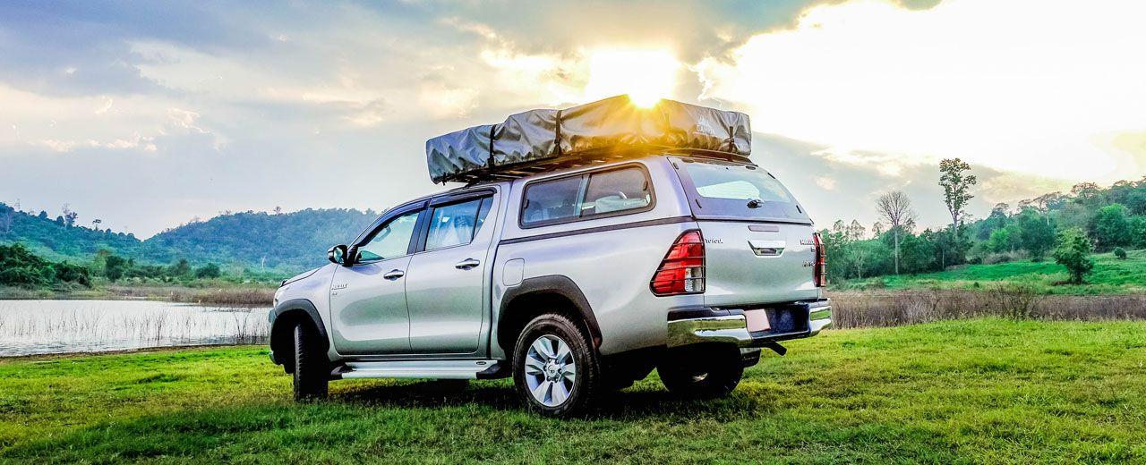 CARRYBOY GFK Hardtop 560-TRD mit Schiebefenster Toyota Hilux Revo Invincible Doppelkabine einfacher belastbare Reling Dachzelt