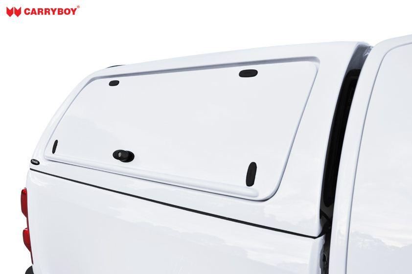 CARRYBOY GFK Hardtop Toyota Hilux Revo_Invincible Doublecab seitliche Klappen lackiert Gewerbehardtop