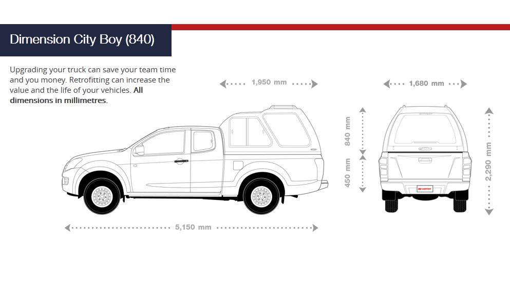 CARRYBOY Hardtop 840 über Kabinenhöhe für Ford Ranger Extrakabine Extracab Abmessungen