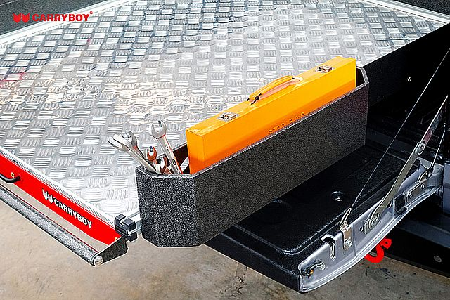CARRYBOY Ladebodenauszug ausziehbare Ladefläche 350kg Belastung Aluminium Stautasche