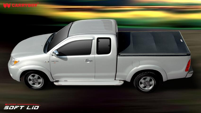 CARRYBOY Laderaumabdeckung Vinylplane mit Klettverschluss Toyota Hilux Vigo Extrakabine 2005-2015 Einbau mit Überkante wasserabweisend