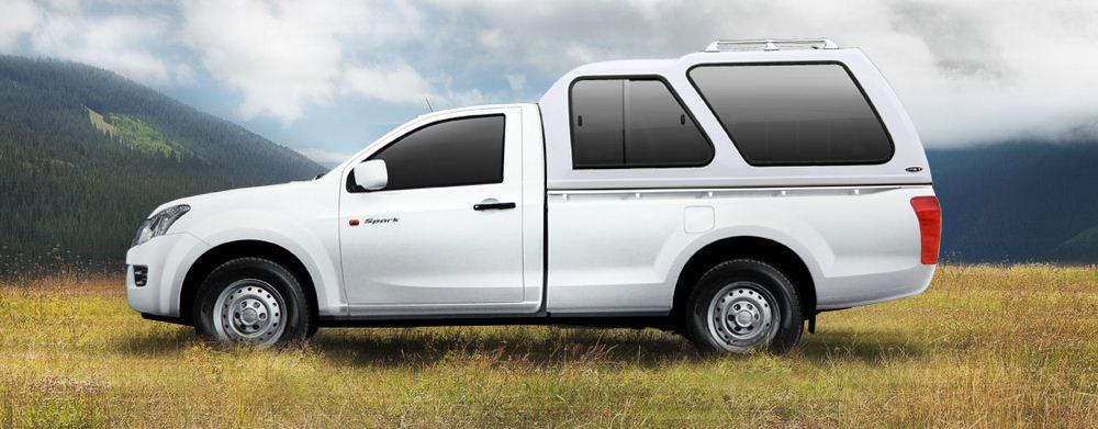 CARRYBOY Hardtop in Überhöhe über Kabinenhöhe für Ford Ranger Singlecab mit seitlichen Schiebefenster feststehendes Fenster