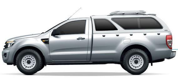 CARRYBOY Hardtop mit Schiebefenster für Ford Ranger Einzelkabine Singlecab Dachreling bis 80kg