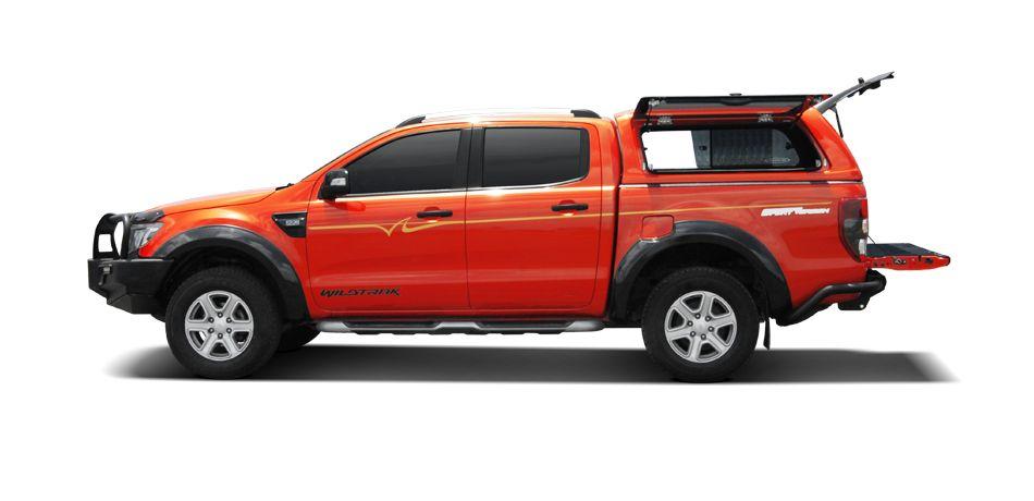 CARRYBOY GFK Hardtop SO56-FTD Schiebefenster Klappfenster Kombination mit neuem Design Ford Ranger Doppelkabine perfekte Passform mit Qualität und Design