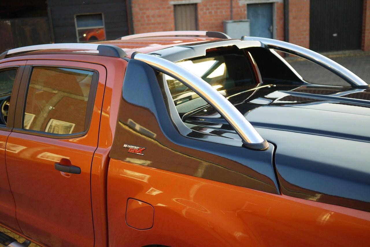 Ford Ranger Doppelkabine Laderaumabdeckung Deckel GRX-FTD mit Edelstahl Überrollbügel Wagenfarbe lackiert